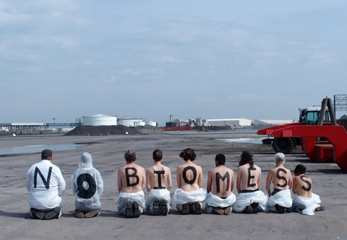 Semi naked Anti Biomess protesters Occupy Avonmouth Port site