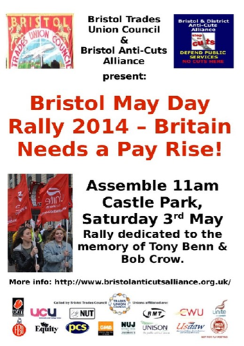 Bristol May Day Rally 2014: 3rd May @ Castlepark 11am and Easton Mayday Party: 1st May @ Chelsea Inn 8pm