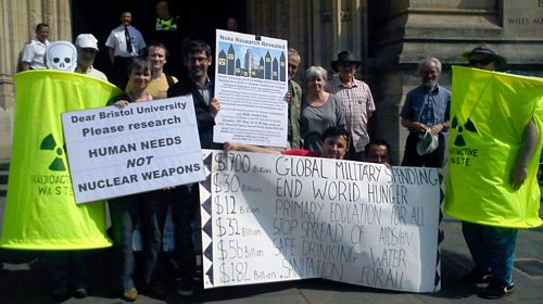 Lead European candidate joins campaigners as they challenge nuclear weapons research at Bristol University